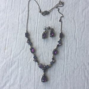 Jewelry - Purple stone necklace and earring set